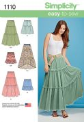 1110 Simplicity Pattern: Misses' Tiered Skirt with Length Variations